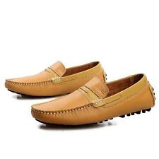 Mens Flats Boat Slip On Loafers Dress Casual Leather Shoes Driving Moccasins