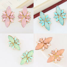 Korean Sweet Girls Crystal Rhinestone Drop Earring Metal Ear Stud Simple Jewelry
