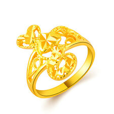 New Fashion Women Lady Love Heart Hollow Solitaire Gold Plated Jewelry Ring GIFT