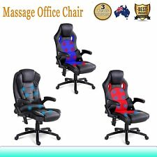8 Point Massage Executive Office Computer Chair Heated PU Leather S-shape Back