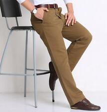 Business Mens Straight Summer Pants Casual Trousers Brown Formal Office Pants