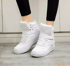 2017HOT Women ankle boots wedges shoes casual height increased high top sneakers