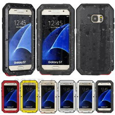 Shockproof Rugged Aluminum Metal Bumper Case + Gorilla Glass For Samsung Phones
