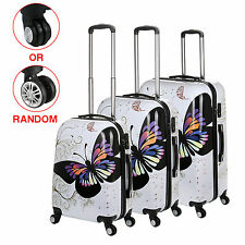 """20"""" 24"""" 28"""" Butterfly Design Travel Luggage Suitcase Hard Shell 4 Wheel White"""