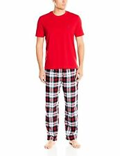 Nautica Mens Sleepwear PJ6Z78 Plaid Flannel Pant and Short Sleeve