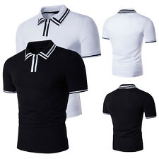 Chic Mens Splice Polo Shirt Short Sleeve Simple Style Slim Fit T Shirt Tee Tops