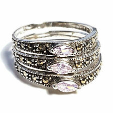 (SIZE 6)  Set of 3 STACK RINGS: Purple CZ Stones Marcasite .925 STERLING SILVER