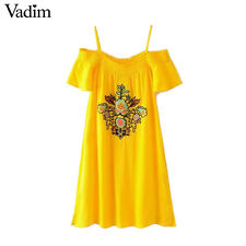 Women Summer Dress Vintage Floral Embroidery Casual Short Sleeve Fashion Trend