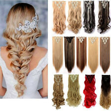 US Real Natural Full Head Clip in As Human Hair Extensions 8 PCS Straight Wavy