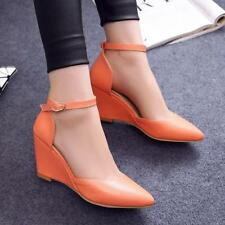 Elegant womens pointy toe wedge pumps heels ankle strap OL shoes@Summer slip on