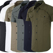 Mens Formal Short Sleeve Button-Down Military Casual Shirts Tops Dress Shirt Pop