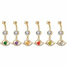 Eye Dangle Zircon Stainless Steel Navel Belly Button Ring Bar Barbell Piercing