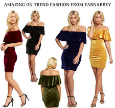 Ladies Velvet Bardot Off Shoulder Frill Ruffle Top Bodycon Party Cocktail Dress