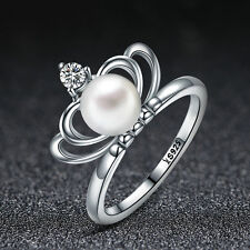 New 925 Sterling Silver Princess Crown Freshwater Pearl CZ Charm Ring Size 6-8
