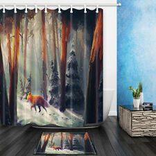 Fox in the forest Shower Curtain Home Bathroom Decor Fabric & 12Hooks 71*71inch