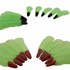 10pc Halloween Glow in The Dark Witch Black Red Fingernails Claws Costume Prop