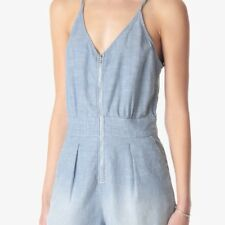 7 FOR ALL MANKIND WOMENS SHORT ROMPER IN STRETCH CHAMBRAY