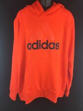 NEW Adidas Ess Lin P/O FT Pullover Hoodie Jacket Orange Navy Blue Jacket L XL