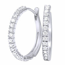 1/2 Ct Round Cut Natural Diamond 14K Solid Gold Hoops Womens Genuine Earrings