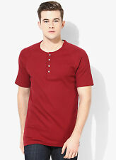 Levi's Red Solid Henley T-Shirt