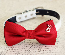 Red with Heart Charm Dog Bow Tie Leather Collar Handmade Pet Wedding Accessory