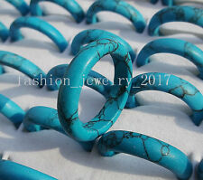 FREE Wholesale Lots Fashion Jewelry Natural Sky Blue Turquoise Gemstone Rings