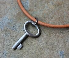 Rustic Key Necklace - Dark oxidized sterling silver key on brown leather cord