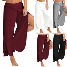 Casual Women Layered Palazzo Bottom Loose Yoga Wide Leg Pants Split Trousers NEW