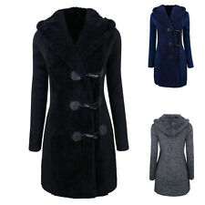 Womens Wool Winter Coat Hooded Horn Button Long Peacoat Cloth Warm Clothing Tops