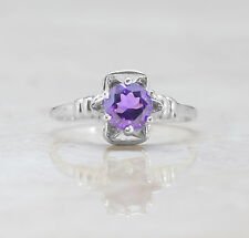 925 Sterling Silver Flower Shape Ring with Amethyst Natural Gemstone Handcrafted