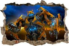 BUMBLEBEE Transformers Smashed Wall 3D Decal Removable Graphic Wall Sticker H147