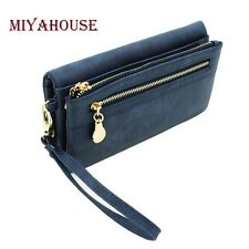 Long Wallet Leather Double Zipper Ladies Polish PU Leather Clutch Coin Purse Hot