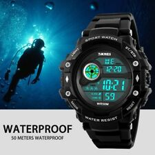 Waterproof Men Lady Silicone LCD Digital Stopwatch Date Rubber Sport Wrist Watch