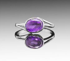 925 Sterling Silver Ring with Purple Amethyst Natural Gemstone Oval Handcrafted
