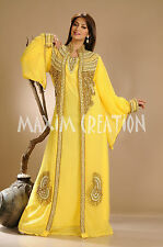 Beautiful Dubai Caftan Dress Abaya Jilbab Islamic Kheleeji Sequins Arabian 3505
