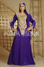Beautiful Dubai Caftan Dress Abaya Jilbab Islamic Kheleeji Sequins Arabian 3585