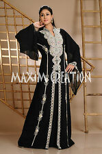 Beautiful Dubai Caftan Dress Abaya Jilbab Islamic Kheleeji Sequins Arabian 3558
