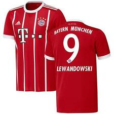 adidas Bayern Munich 2017/18 Men's Home Jersey Lewendowski 9 Red 1707