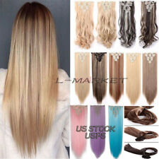 US 100% Real Soft Full Head Clip in Hair Extensions 8 Pcs Straight Wavy Curly