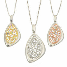Oval Filigree with White Crystal Pendant with Chain - Various Plating Options