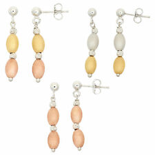 Sterling Silver Dangle Earring with Various Metal Plated DC Beads