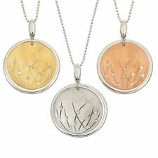 14K Gold, Rose Gold, or Rhodium Plated Silver Round Crystal Pendant Necklace