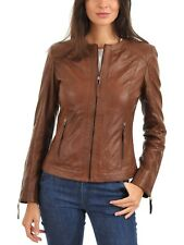 womens leather jacket motorcycle women biker real lambskin coat Slim S M L 329