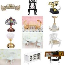 Dollhouse Miniature Sofa Chair Desk Lamp Dining Room Bedroom Furniture Set 1:12