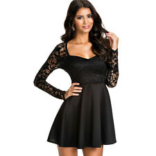 suzanjas Cocktail Dress with Lace Top in Black, Size 36 - 44/S - XL