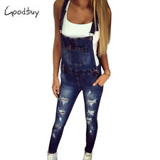 Denim Jumpsuits Overall Casual Hole Pocket Spring Pencil Pants Women Fashion Hot