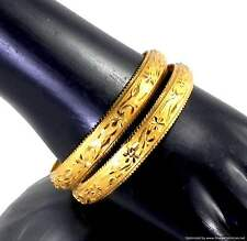 Bangles Bracelets Gold Plated 2 pieces set Indian Designer Jewelry 2.4-2.8 size