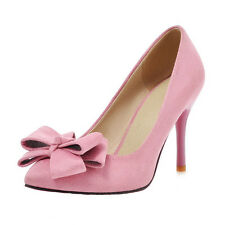 Women High Heels Stiletto Pumps Pointed Toe Bow Slip On Ladies Party Shoes Pink