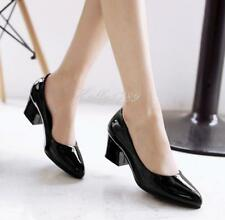 Womens Pumps Shiny Patent Leather Chunky Block Heel Office Lady Pointy Toe