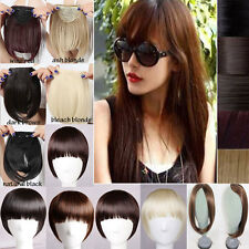 1Pcs Thick Hairpiece Straight Bang Clip in on Fringe Hair Extensions Blonde mix